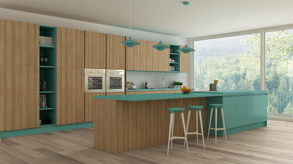 Minimalistic kitchen with wooden and turquoise details, scandina