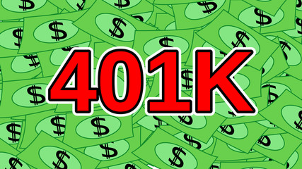 401K Text on Money Background