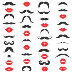 Set of mustache and women s red lips