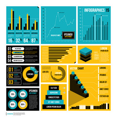 Modern report template with big set of infographics elements.