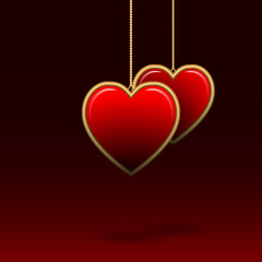 Vector background for Valentine's Day with two hearts.