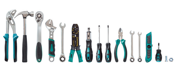 set of tools, Many tools isolated on white background