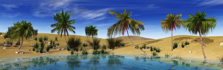 Oasis in the desert. Palm trees around the lake.