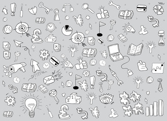 business doodles objects background., drawing by hand vector