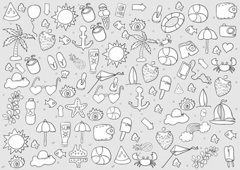 summer symbols and objects., drawing by hand vector.