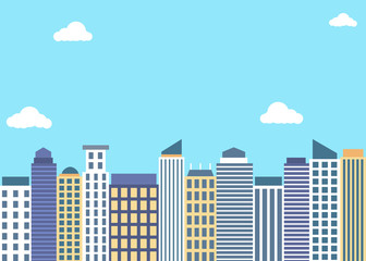Flat style tall buildings under blue sky background
