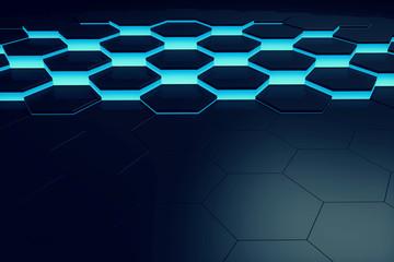 Glowing blue hexagon pattern background. 3D rendering