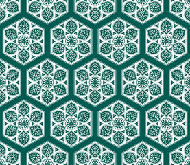 Vector Arabic seamless pattern with floral elements.