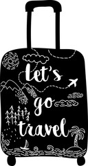 Stylish hand drawn black silhouette suitcase with mountains, forest, airplane, sea and caliigraphy quote Let's go travel. Wanderlust.  Sketch style illustration. Vector card.
