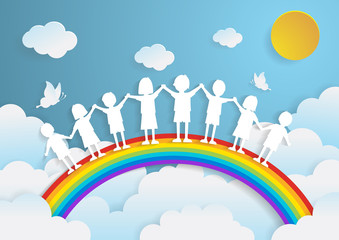 kids playing with the rainbow,paper art style