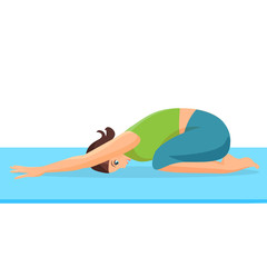 Female person doing yoga stretch on special blue rug. Curled up girl i