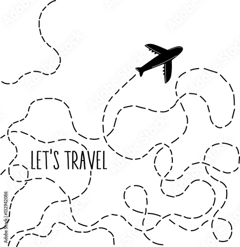 Hand Drawn Airplane With Dotted Lines Road Stylish Vector Illustration Wanderlust Travelling