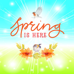 Spring is here with birds watercolour style. hand letter. vector illustration