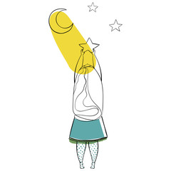 Illustration with a girl to hang a stars for your design.