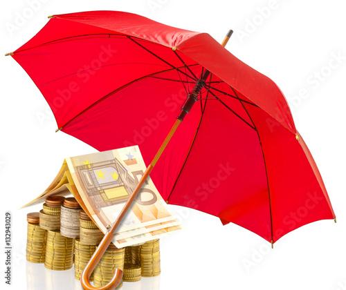 Maison argent sous parasol rouge concept projet for Assurance construction maison
