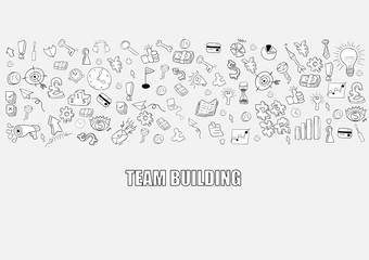 Business development doodles objects background, drawing by hand