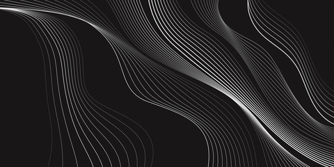 Black and white background, waves of lines, abstract wallpaper, vector design