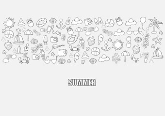 Summer beach hand drawn vector symbols and objects, drawing by h