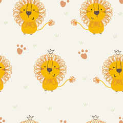 Cute little lion cartoon style. Vector pattern
