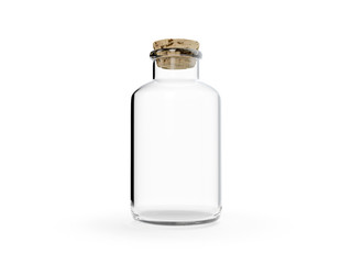 Isolated glass bottle with cork on white background 3d illustration