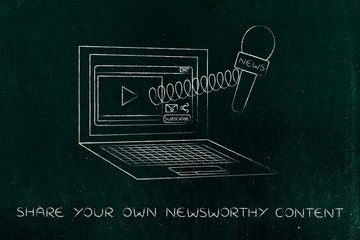 microphone out of laptop screen on a spring, crowdsourced news