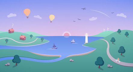 Illustration with Idyllic Coastline - houses, boats, a cyclist, a lighthouse and hot air balloons flying over beautiful coastal scenery as the sun rises.