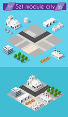 Building 3D industry construction for isometric infographics of flat design with urban landscape and industrial factory buildings and vector illustration