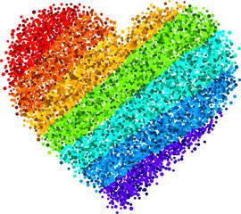 valentine's background with rainbow heart.
