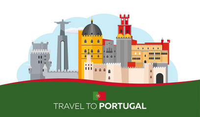 Travel to Portugal skyline. Vector flat illustration.