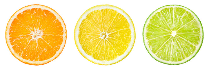 Photo sur Aluminium Fruit Citrus fruit. Orange, lemon, lime, grapefruit. Slices isolated o
