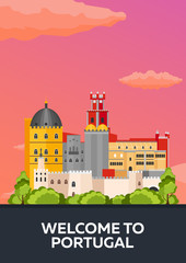 Poster Travel to Portugal skyline. Vector flat illustration