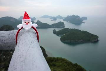Santa Claus hair band on the viewpoint of Ang thong archipelago island.Thailand.