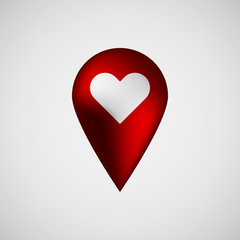 Red abstract map pointer badge, GPS button with love,  Valentines heart sign, realistic reflex and light background for logo, design concepts, banners, applications, apps, prints. Vector illustration.