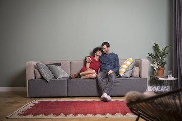 Couple sitting together on the couch