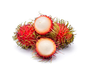 fresh rambutan isolate on white background