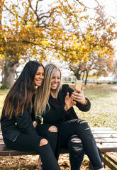 Two smiling young women on park bench looking at cell phone
