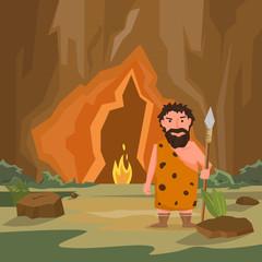 Caveman near cave