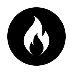 Fire flame icon. Black icon isolated on white background. Round icon. Fire flame silhouette. Simple circle icon. Web site page and mobile app design vector element.