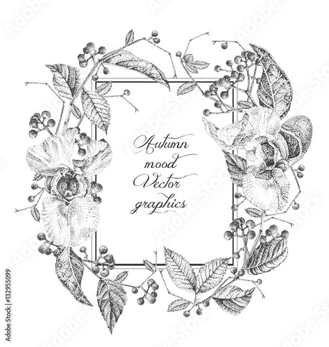 Floral frame for greeting cards or invitations black and white floral frame for greeting cards or invitations black and white vector illustration composition m4hsunfo