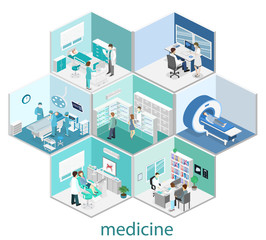 Isometric flat interior of hospital room, pharmacy, doctor's office,