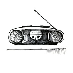 Old reel tape recorder on white background. Vintage style, hand drawn.