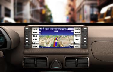 Navigation device in the car 3d illustration