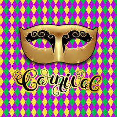 Golden mask. Mardi Gras calligraphy on harlequin colorful pattern background.  Masquerade carnival lettering. Vector Illustration.
