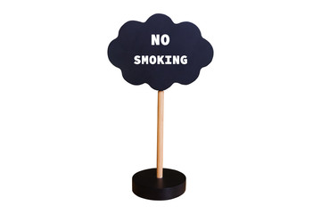 no smoking wooden blackboard with stand on white background