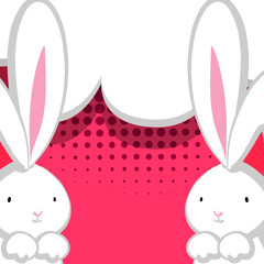 Two white cute rabbit red comic bubble