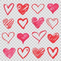 hand drawn vector hearts