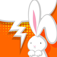 White cute rabbit orange comic bubble