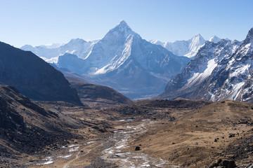Landscape of Ama Dablam mountain peak, Everest region, Nepal