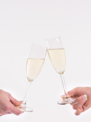 Toasting with champagne glass