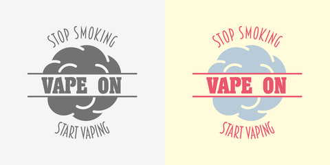 Vape shop badge, logo or symbol design concept isolated on white background. Monochrome and color vector logo for e-cigarettes store advertising.